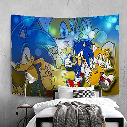 Kseyic Tapiz de pared de Sonic The Hedgehog, de microfibra, con dibujos animados en 3D, hippie, para decoración del hogar, multicolor para dormitorio (13,180 × 130 cm)