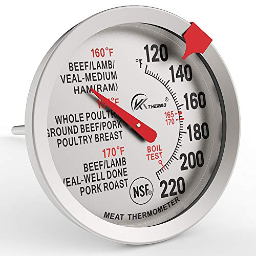 """KT THERMO Meat Thermometer for Cooking - NSF certificated Instant Read Cooking Temperature Thermometer Oven Safe , Waterproof 2.5 """" dial, 5"""" Long Probe for Poultry,Roasting,Baking,BBQ Cooking"""
