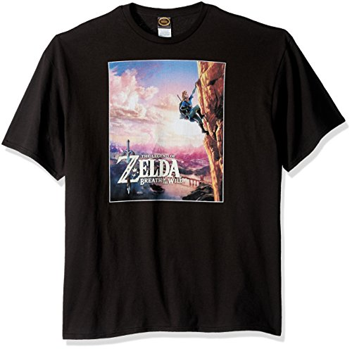 Nintendo Men's Zelda Wild Poster Catching Breath T-Shirt, Black, XX-Large
