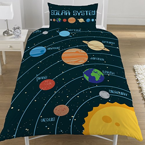 KidCollection Solar System Planets Single/Double Reversible Duvet Cover Bed Set Space (Single Duvet Cover)