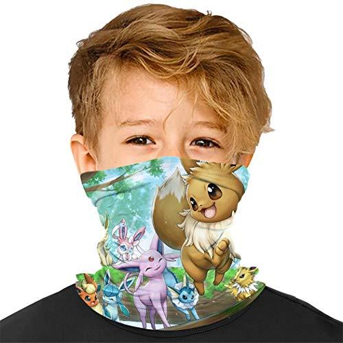 Kids Face Cover Mask Ee-v-ee Bandana Neck Gaiter Masks For Boys And Girls