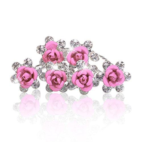 Autiga Haarnadeln Blume Rose Strass Blüte Kristalle Hochzeit Braut Haarschmuck Blumenhaarnadel Kommunion Haarpins Duttnadeln rosa 12er Set