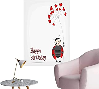 Wall Decals for Kids Ladybug Wings Flower Inspired Heart Shaped Balloons Red Black and White Environmental Protection Vinyl,28