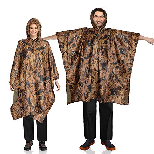 FWG Rain Poncho Waterproof Raincoat Adult Unisex Reusable Packable Durable for Camping Hiking Cycling (Camo)