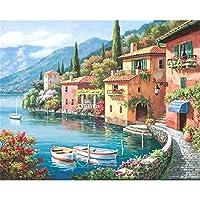 WEIFENGX油絵 数字キットによる絵画 塗り絵 大人 手塗り DIY絵 デジタル油絵 フレームレス 40x50cm - 地中海の風景
