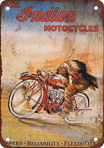 Collectible Wall Art 12x16Inch,The Indian Motorcycles,Park Signs Park Guide ABC Warning Signs Metal for Private PropertyOutdoor Danger Sign