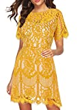 MSLG Formal Dresses for Women Short Elegant Round Neck Short Sleeves V-Back Floral Lace Cocktail Party A Line Dress 910 (XXL, Yellow)