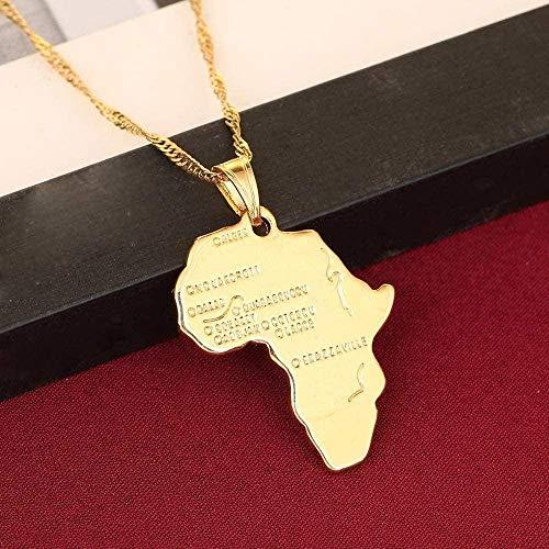 ZPPYMXGZ Co.,ltd Collar con Colgante de Mapa Africano de Moda para Mujer y niña, Colgante de Color Dorado de 24 K, joyería Me Frican Map, artículo al por Mayor
