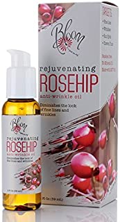 Bloom Rejuvenating Rosehip Oil for face. Anti-Wrinkle Fine Lines, Wrinkles, Sun Spots, Uneven Tone, Dark Spots With MCT Oil. Large 2oz Bottle