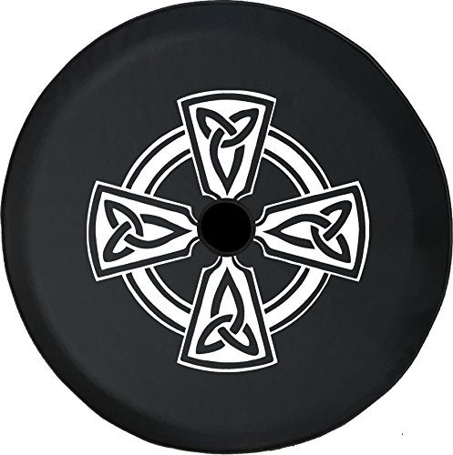 American Unlimited JL Spare Tire Cover with Backup Camera Hole Celtic Cross Knot Irish Warrior Size Black 33 in