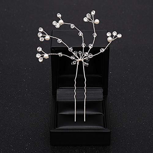 ASDAHSFGMN Bridal Hair Accessories Flower Pearl Wedding Hair pins for Bridal Hair Accessories Hair Clips Headpiece Wedding Hair Accessories Women Jewelry (Metal color : 15)