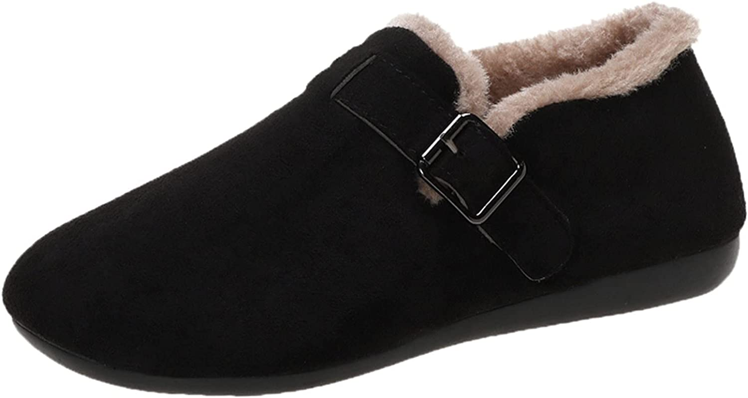 Vintage Suede Loafers Women's Winter Warm Thicken Slip On Flats Shoes Elegant Ladies Casual Comfort Sneakers Outdoor