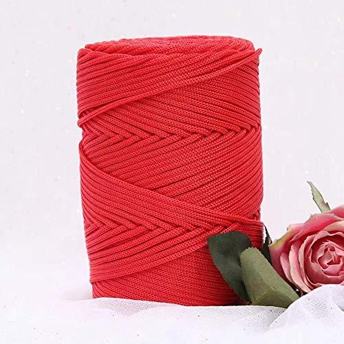 XINSHENG Store 230G / Lana Ganchillo Hielo Viscosa luz de Seda de 3 mm Hilo de Nylon Hueco for el Sombrero Gancho Dom Mano (Color : Rojo)