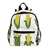 Mochila de niños para niños con bolsa de escuela, mochila para niños y niñas, niños de guardería, escuela primaria, dinosaurios coloridos Imágenes de orejas de maíz 25.4x10x30 CM/10x4x12 in