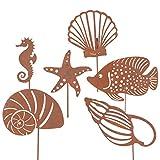 RM E-Commerce Gartendeko Gartenstecker aus Edelrost Metall Fische und Muscheln 6er Set für Garten Terrasse oder Balkon