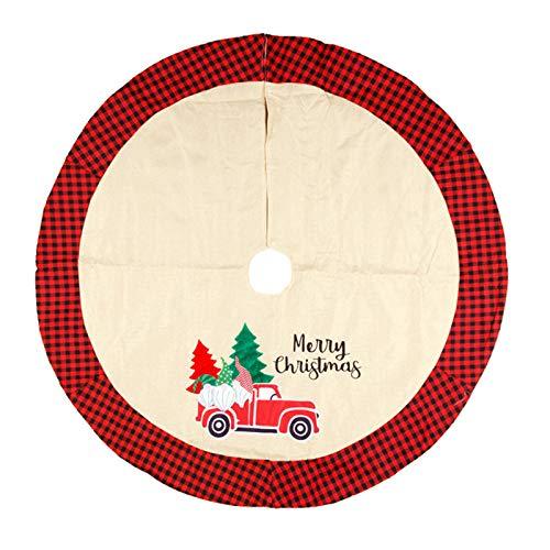 无 Falda de árbol de Navidad, Alfombrilla de árbol de arpillera a Cuadros de búfalo Rojo y Negro de 41 Pulgadas, Alfombra de Flores de Navidad para decoración de Fiesta en casa