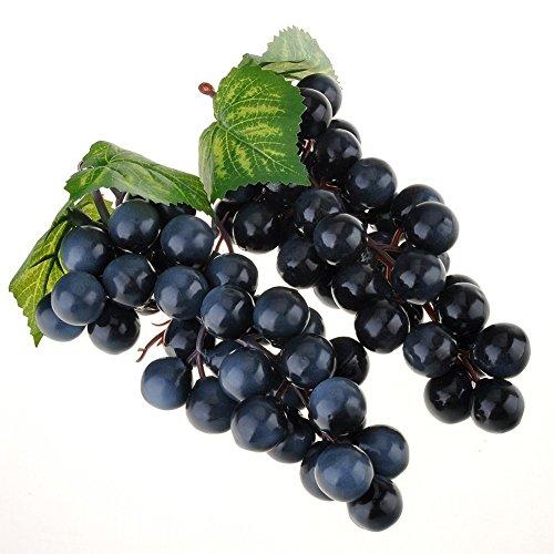 Venkaite 2pc Deko Kunststoff Weintrauben Wein Trauben Kunstobst Plastikobst künstliches Obst Gemüse Dekoration (schwarz)