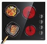 Plaque Vitrocéramique 6000W, plaque de cuisson vitroceramique 4 feux, 9 Niveaux de Puissance, 4 zones de cuisson, Arrêt automatique, surface en verre noir poli 60 cm, bouton de commande, Hobsir