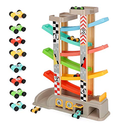 LBLA Car Ramp Toy for 1 2 3Year Old Boy Gifts, Toddler Toys Car Ramp Racer with 8 Mini Cars,Parking Lot & Gas Station