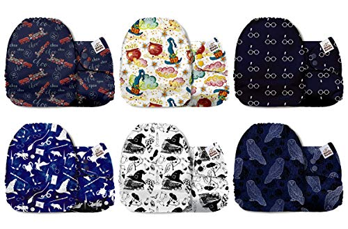 Mama Koala Unisex Baby Reusable Washable Pocket Cloth Diapers with 6 Microfiber Inserts-Pack of 6 (Accio Fluff)