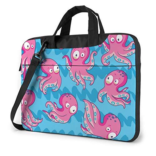 Abstract Cartoon Octopus Computer Bag Durable Laptop Briefcase Shoulder Messenger Bag for Computer Notebook 14 inch