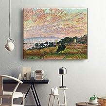 YuanMinglu Acuarela nórdica Rural Arte de la Pared Carteles e Impresiones decoración del hogar decoración de la Sala Retro Lienzo Pintura sin Marco Pintura 50X60 CM