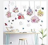 Pegatinas de pared de dormitorio Flores de colores Pegatinas de pared de jaula de pájaros cálidas Dormitorio Sala de estar Fondo de sala de bodas Pegatinas de pared decorativas 60 * 90Cm