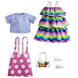 Barbie Fashions 2-Pack Clothing Set, 2 Outfits Doll Include Pink Polka-Dot Jumper, Purple Polka-Dot Top, Striped Dress & 2 Accessories, Gift for Kids 3 to 8 Years Old