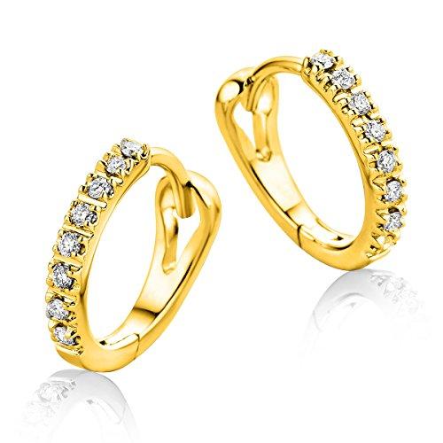 Miore Schmuck Damen 0.10 Ct Diamant Creolen mit 16 Diamanten Brillanten Ohrringe aus Gelbgold 9 Karat / 375 Gold