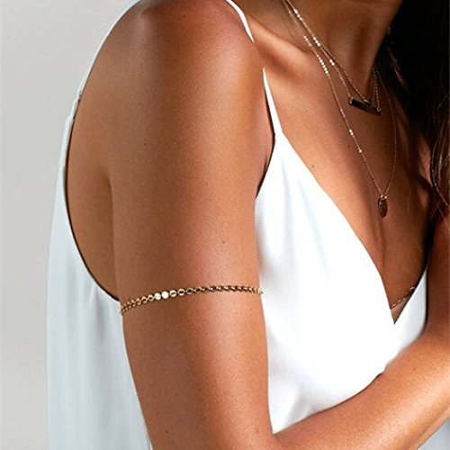 Jovono Boho Gold Sequines Bracelet Upper Arm Armlet Cuff Bracelet for Women and Girls