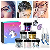 Body Glitter by iMethod - 6 Jars Face Glitter, including Fine Glitter & Chunky Glitter, Holographic Glitter for Festival Makeup, Perfect for Mardi Gras and Coachella