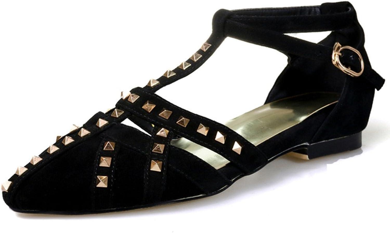 Nine Nine Nine Seven mocka läder Woherrar Pointy Toe Studerad T -Strap D'Orsay Handdad mode Flats Sandals  motverka äkta