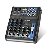 Pyle Professional Audio Mixer Sound Board Console System Interface 4 Channel Digital USB Bluetooth MP3 Computer Input...