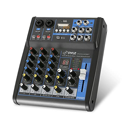 Pyle Professional Audio Mixer Sound Board Console System Interface 4 Channel Digital USB Bluetooth MP3 Computer Input 48V Phantom Power Stereo DJ Studio Streaming FX 16-Bit DSP processor-PMXU43BT