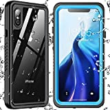 SPIDERCASE Designed for iPhone Xs Max Waterproof Case, Built-in Screen Protector Full-Body Clear Call Quality Heavy Duty Shockproof Cover Case for iPhone Xs Max 6.5'' (Blue/Clear)