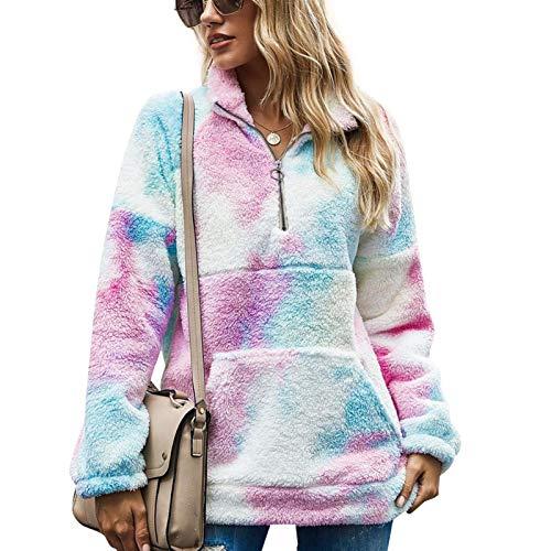 Ishine Chaqueta de invierno de las señoras suéter de cuello de pie con cremallera suéter de las señoras suelto, suéter de forro polar casual