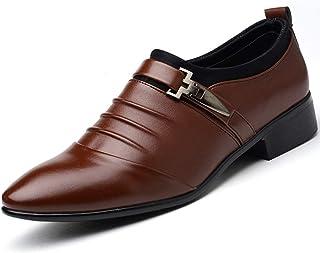 Dingziyue - Scarpe da uomo casual in pelle, stile britannico, alla moda, a punta, colore: marrone, taglia 46