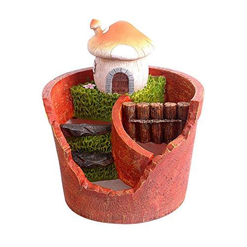 MICROSHE Résine idyllique Vintage Welcome Fun Garden Sign G Combinaison de Pots de Fleurs pastoraux pour Jardin Résine Plante succulente (Hutte) (Couleur : Mushroom House, Taille : 21 * 14 * 18.5cm)