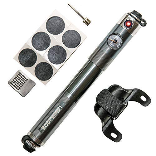 Body Mind 1 Mini Bike Pump Portable Aluminum Pump -Tire Pressure Gauge and Repair Kit with Ball Needle -Compatible to Electric, Mountain and Road Bicycles -Easy Change Presta and Schrader Valves