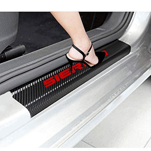 JEYODA 자동차 도어 임계 값 스티커 GMC 시에라 트럭 장식 데칼 탄소 섬유 비닐 스티커(레드)