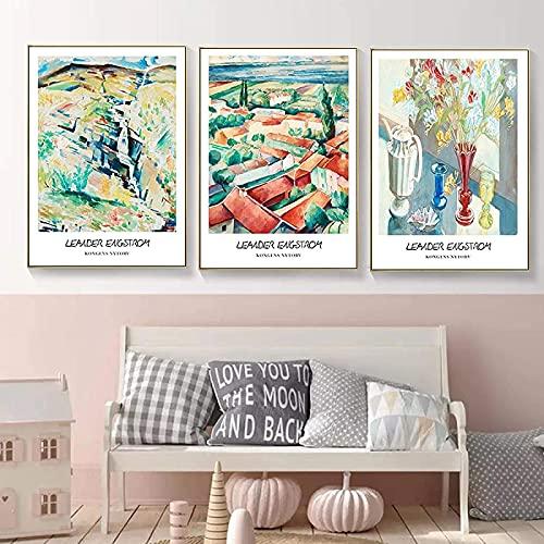 SXXRZA Pintura de Pared Póster de impresión artística Henry Matisse Fauvismo Naturaleza Muerta y Gente Paisaje Rural Decoración de Sala de Estar 3 Piezas 50x70cm Sin Marco