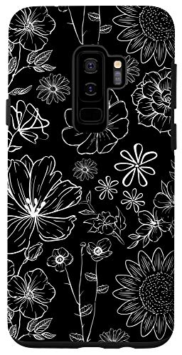 Galaxy S9+ Black and White Wildflower Pattern Case