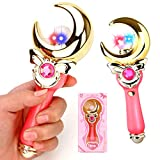 YSpring Sailor Moon Wand Kids Cute Music + Flash Light Transfiguration Toy Anime Cosplay Props Moon Magic Wand for Kids(Moon - Pink)