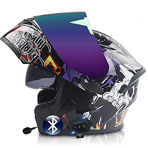 Casco Moto Modular Bluetooth Incorporado Casco Integral ECE/Dot Aprobado con Visor Solar Doble Anti Vaho Casco Scooter Casco de Motocicleta para Adultos Hombre y Mujer 57~63cm