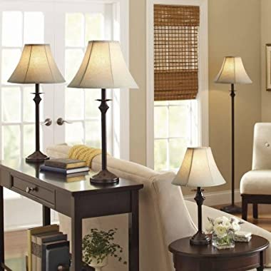 Dark brown Base/Faux-leather shade Lamp includes 1 floor lamp, 1 accent lamp and 2 table lamps - Set of 4