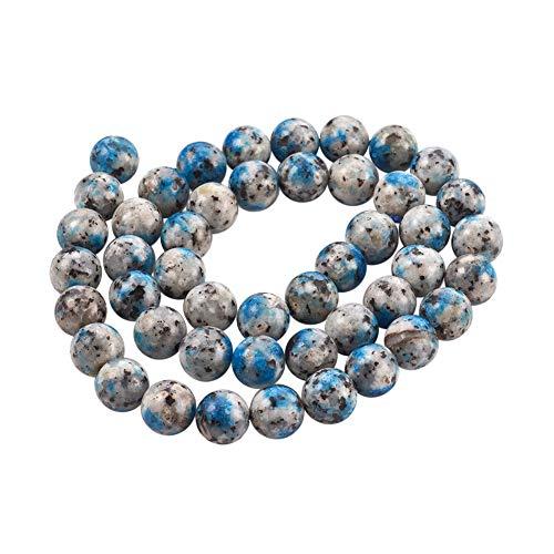 CHGCRAFT 1 Strand 6mm Natural K2 Azurite Beads Round Gemstone Stone Beads for Jewelry Making