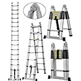 16.5Ft Aluminum Telescoping A-Frame Ladder EN131 Certificated Telescopic Extension Tall Multi Purpose 16 Steps for Family Home Christmas Gift Presents