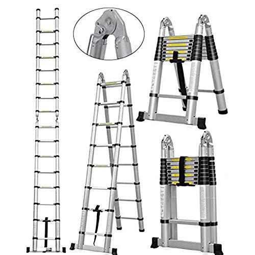 16.5Ft Aluminum Telescoping A-Frame Ladder EN131 Certificated Telescopic Extension Tall Multi...