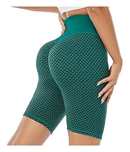 Señoras corriendo pantalones cortos, pantalones cortos de celulitis, pantalones cortos de ciclismo de alta cintura, pantalones cortos de volantes, cómodos de usar, adecuados para correr, ciclismo, gim