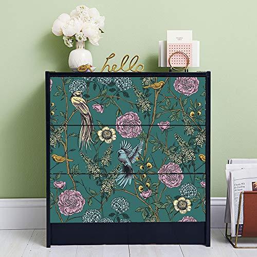 Alwayspon Calcomanías de jardín victoriano para aparador de IKEA MALM, pegatinas extraíbles para cajón delantero, despegar y pegar muebles, 3 unidades x 80 cm x 20 cm